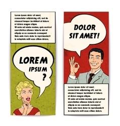 Comics Human Banner Set vector image
