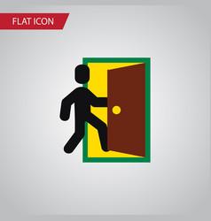 Isolated open door flat icon evacuation vector