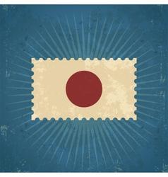 Retro Japan Flag Postage Stamp vector image vector image