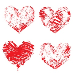Set of grunge red color figures - hearts vector image vector image