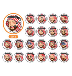 the third set of saudi arab man cartoon character vector image vector image