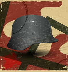 Vintage card with fascist military helmet vector image vector image