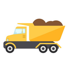 construction truck icon flat style vector image