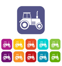 tractor icons set vector image