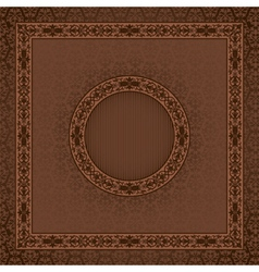 Vintage square card on damask seamless background vector image
