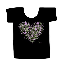 Black tshirt with floral print design vector image vector image