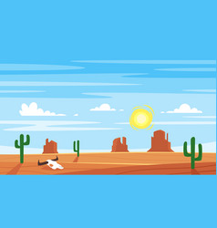 cartoon style background with hot west desert vector image
