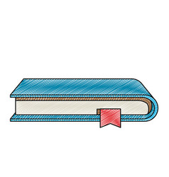Color crayon stripe silhouette of book with vector