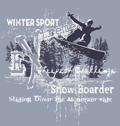 extreme snow boarder vector image vector image