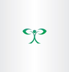 green eco man with leaf hand plant icon vector image