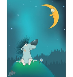 Hedgehog and the moon Cartoon vector image vector image