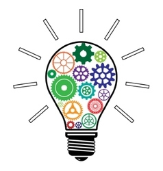Light Bulb with Colorful Gears vector image vector image