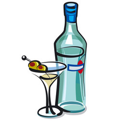 martini cocktail with olives vector image vector image