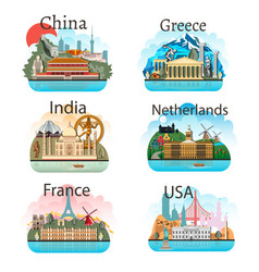 set of countries with attractions vector image vector image