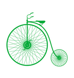silhouette of vintage bicycle in green design vector image vector image