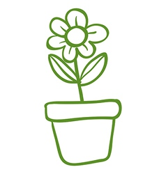A green pot with a green flower vector image vector image