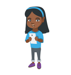African-american girl using a smartphone vector