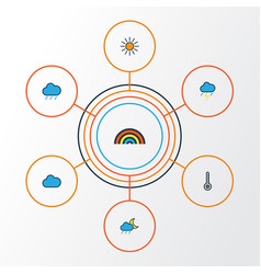Air colorful outline icons set collection of vector