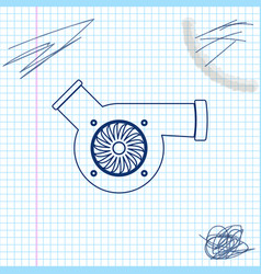 Automotive turbocharger line sketch icon isolated vector