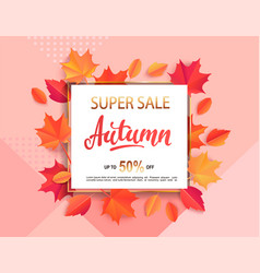 autumn sale banner in gold square frame vector image