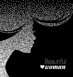 Beautiful girl silhouette of dotwork woman vector image