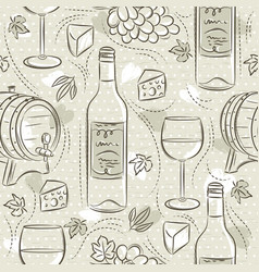 Beige seamless patterns with red wine set cask vector