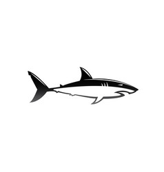 Black and white shark open mouth for logo design vector
