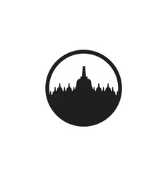 Borobudur temple silhouette minimalist logo icon vector