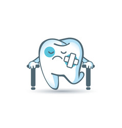 Cartoon sad tooth hurts in plaster and on vector