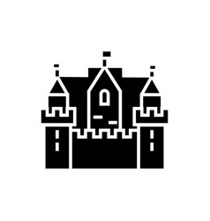 castle kingdom 3 towers icon vector image