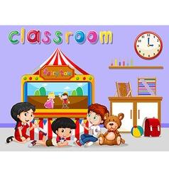Children watching puppet in classroom vector