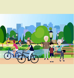 City park outdoors grandparents wooden bench vector