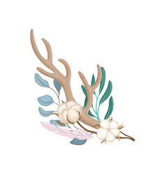Composition antler and cotton vector