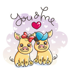 cute cartoon golden baby pigs in love vector image