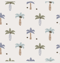 Cute coconut palm trees seamless pattern print for vector