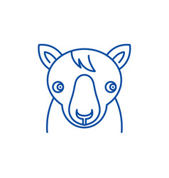 cute horse line icon concept cute horse flat vector image