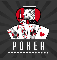 deck of card casino poker king hearts black rays vector image