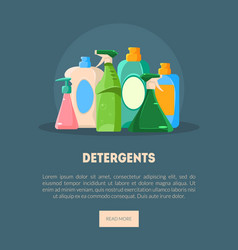 Detergents banner landing page template with vector
