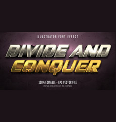 Divide and conquer text 3d gold and silver vector