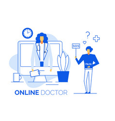 doctor give online consultation to sick patient vector image