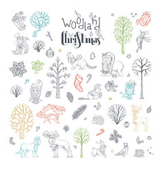 Doodles woodland christmas set vector
