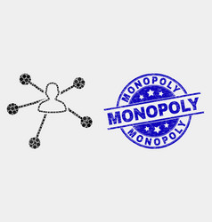 Dot user links icon and scratched monopoly vector