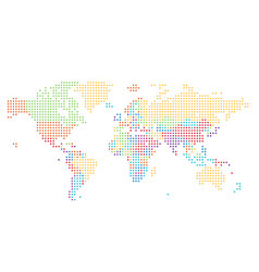 dotted world map square dots vector image