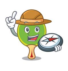 Explorer ping pong racket mascot cartoon vector