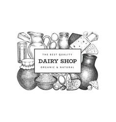 Farm food design template hand drawn dairy vector