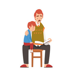 father reading a book to his son boy sitting on vector image