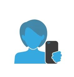 Female selfie blue icon vector image