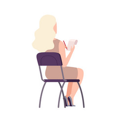 Female student sitting on chair in class back vector