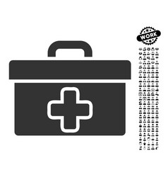 First aid toolbox icon with work bonus vector