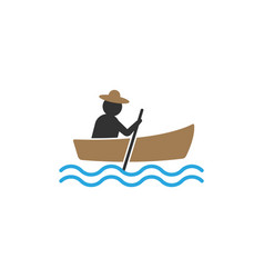 fisherman canoe icon design template isolated vector image